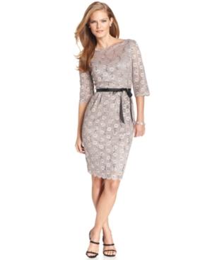 Alex Evenings Plus Size Dress, Three-Quarter-Sleeve Lace Belted Sheath