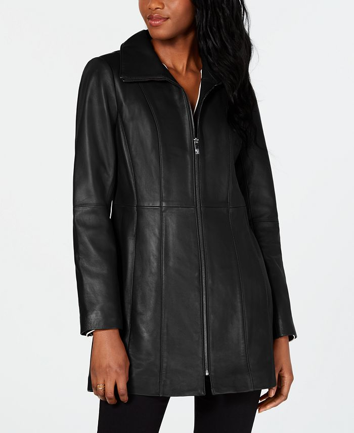 Anne Klein - Petite Zip-Front Leather Jacket