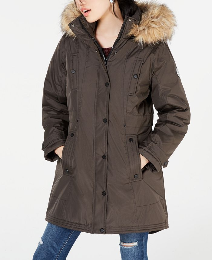 Madden Girl - Juniors' Hooded Faux-Fur-Trim Parka