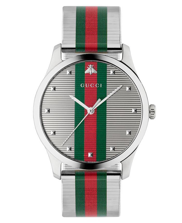 Gucci - Men's Swiss G-Timeless Multicolor Stripe Stainless Steel Mesh Bracelet Watch 42mm