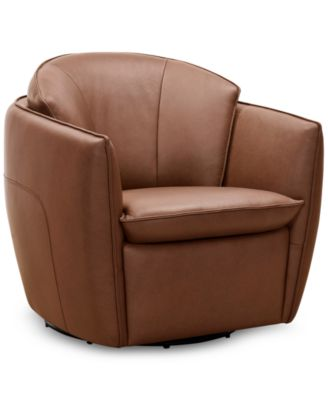 """Chanute 32"""" Leather Accent Chair, Created for Macy's"""