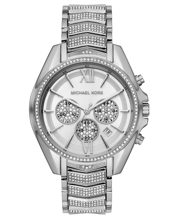 Michael Kors Women's Chronograph Whitney Stainless Steel Pavé Bracelet Watch 45mm
