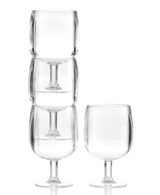 Martha Stewart Collection Set of 4 Acrylic Clear Stackable Wine Glasses
