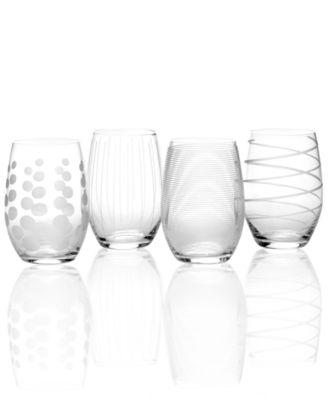 Glassware, Set of 4 Cheers Stemless Wine Glasses