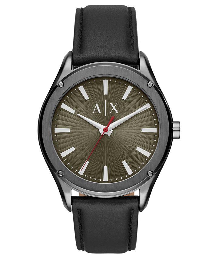 A|X Armani Exchange - Men's Fitz Black Leather Strap Watch 44mm