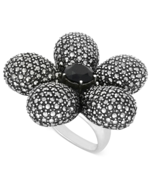 Genevieve & Grace Sterling Silver Ring, Onyx (2-9/10 ct. t.w.) and Marcasite Large Flower Ring