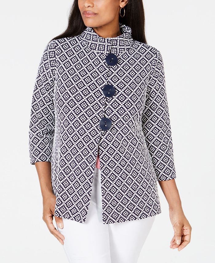 JM Collection - Jacquard Stand-Collar Jacket