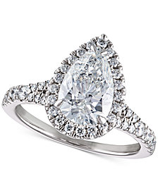 Certified Diamond Pear Halo Engagement Ring (2-1/2 ct. t.w.) in 14k Gold