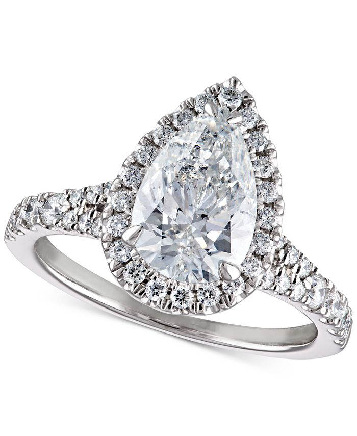Macy's - Diamond Pear Halo Engagement Ring (2-1/2 ct. t.w.) in 14k White Gold