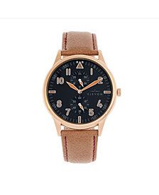 Elevon Men's Turbine Genuine Leather Strap Watch 45mm