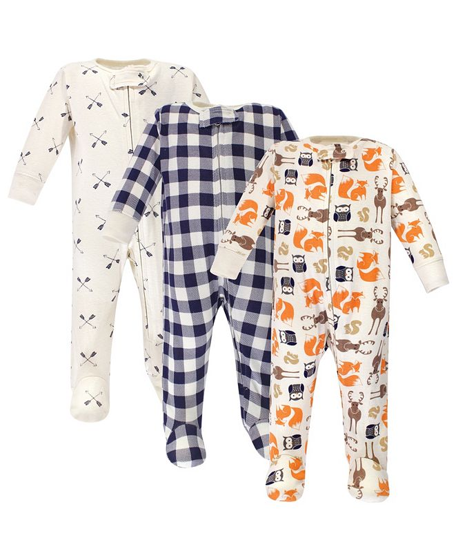 Hudson Baby Zipper Sleep N Play, Forest, 3 Pack, 3-6 Months