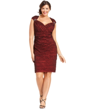 Alex Evenings Plus Size Dress, Cap-Sleeve Beaded Cocktail Dress