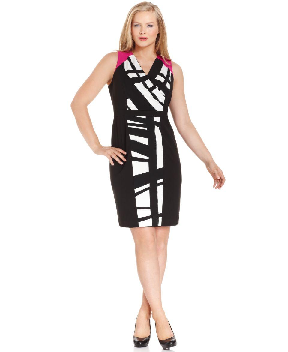 Calvin Klein Plus Size Dress, Sleeveless Printed   Dresses   Plus Sizes