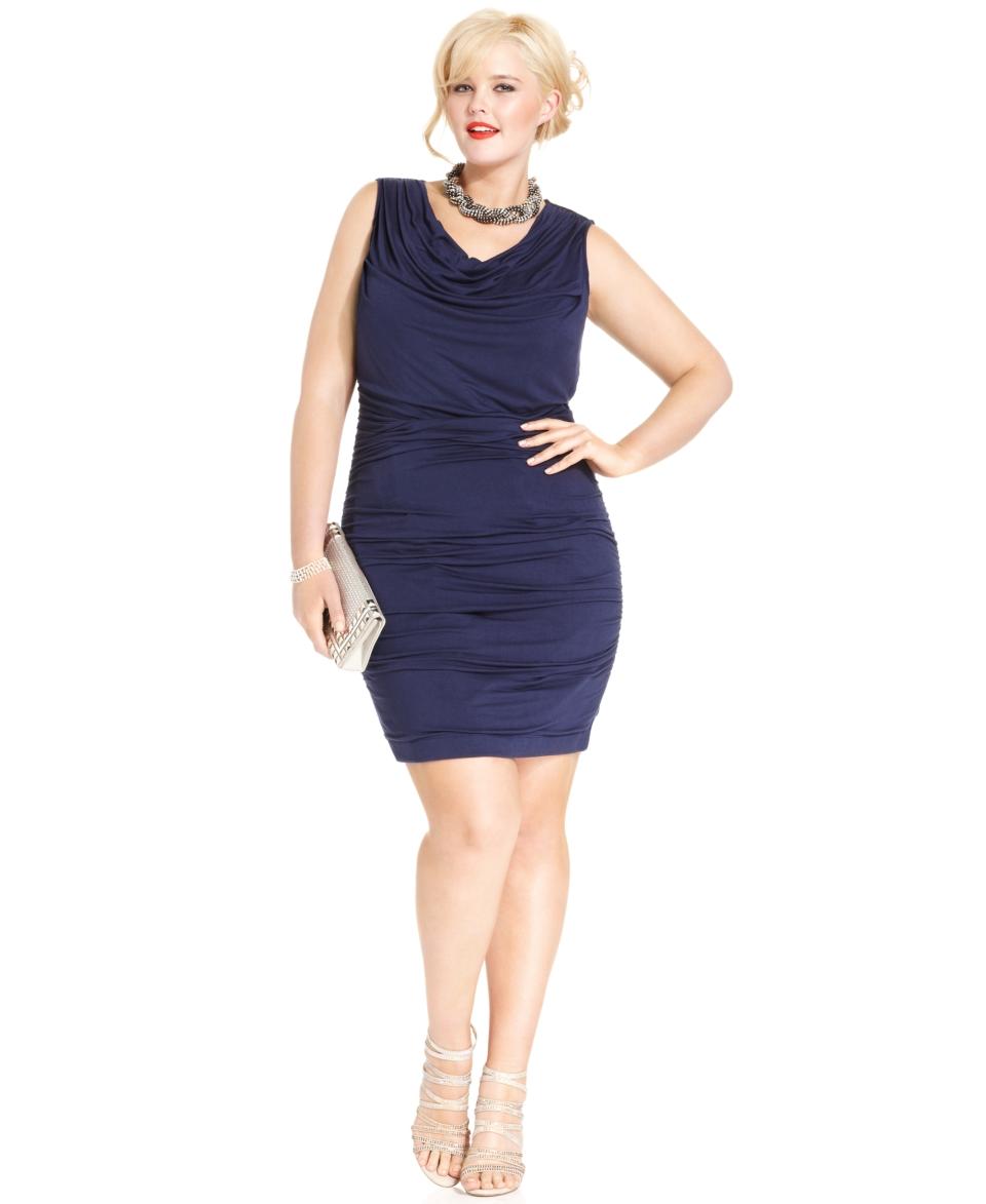 Elementz Plus Size Dress, B Slim Three Quarter Sleeve Cross Front