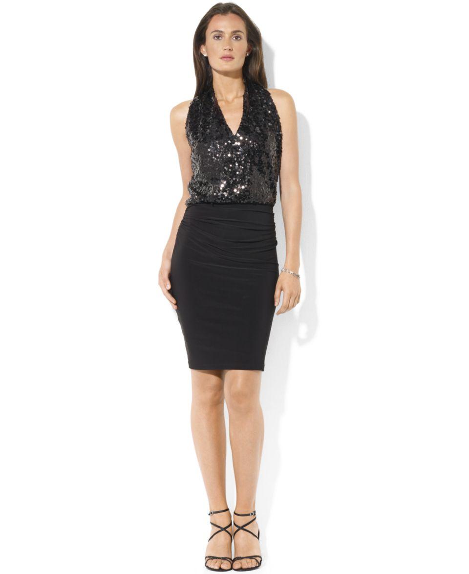 Lauren Ralph Lauren Petite Dress, Sleeveless Sequin Jersey   Dresses   Women