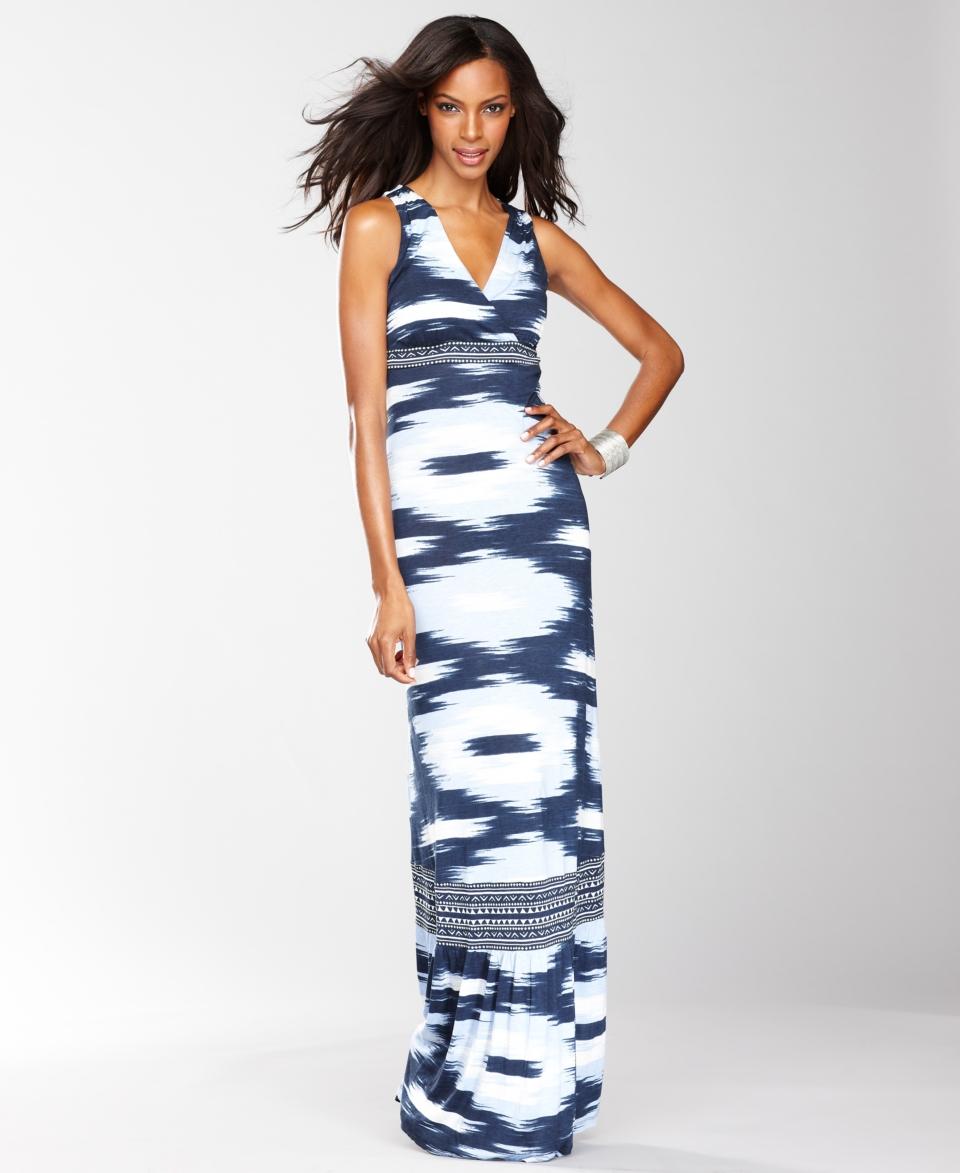 INC International Concepts Dress, Sleeveless Ikat Print Maxi