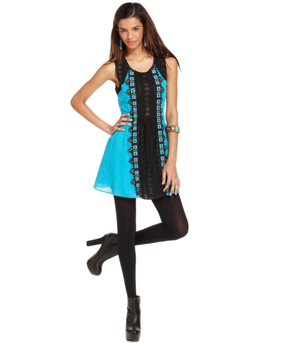Free People Dress, Sleeveless Scoop Neck Metallic Jacquard Studded A