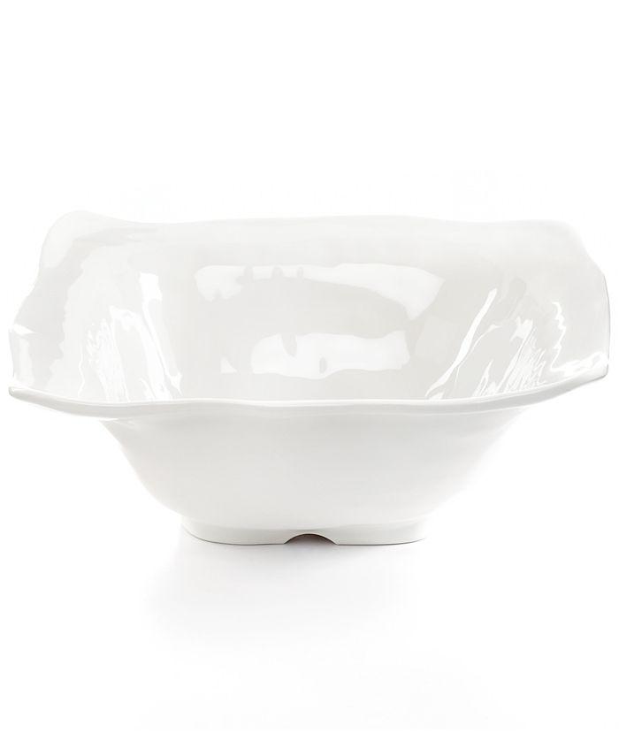 Q Squared - Medium White Ruffle Melamine Serving Bowl