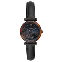 Carlie Mini Three-Hand Black Leather Women's Watch