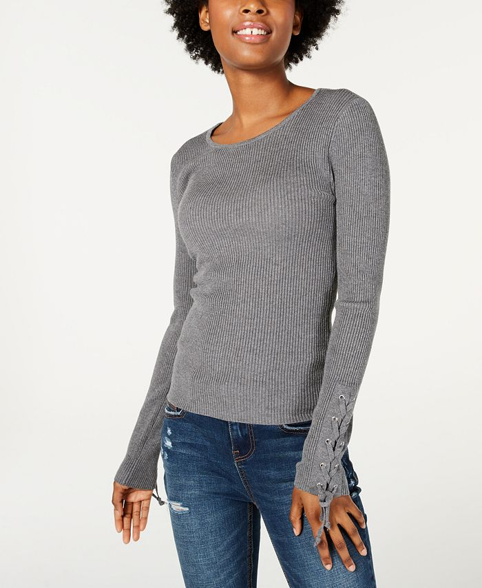 Hooked Up by IOT - Juniors' Lace-Up Rib-Knit Sweater