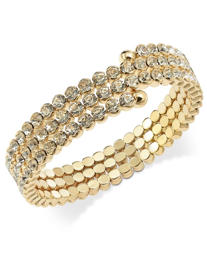 INC International Concepts INC Gold-Tone Crystal Coil Bracelet, Created for Macy's & Reviews - Bracelets - Jewelry & Watches - Macy's