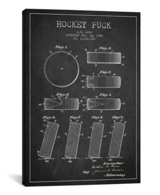 "Hockey Puck Charcoal Patent Blueprint by Aged Pixel Wrapped Canvas Print - 26"" x 18"""