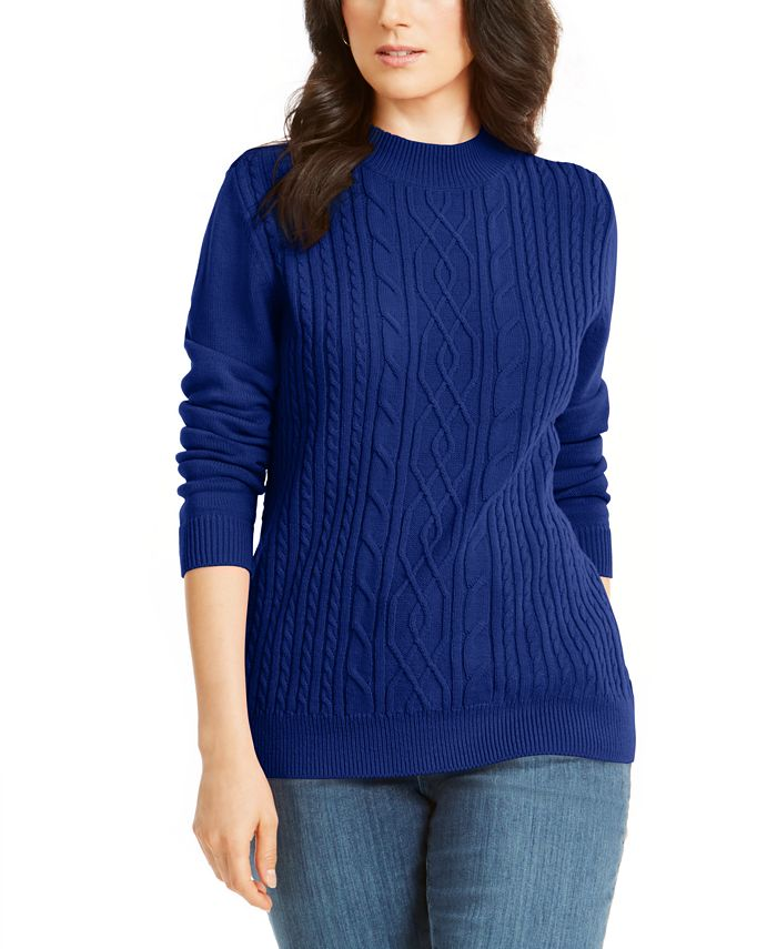 Karen Scott - Cable-Knit Mock-Neck Sweater