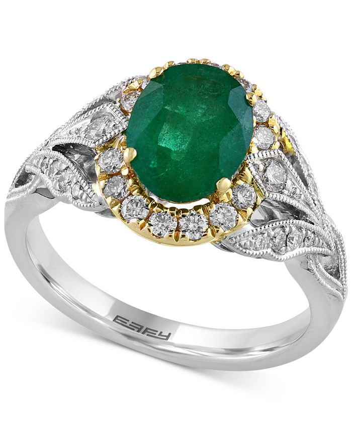 EFFY Collection - Emerald (1-1/2 ct. t.w.) & Diamond (3/8 ct. t.w.) Ring in 14k Gold & White Gold
