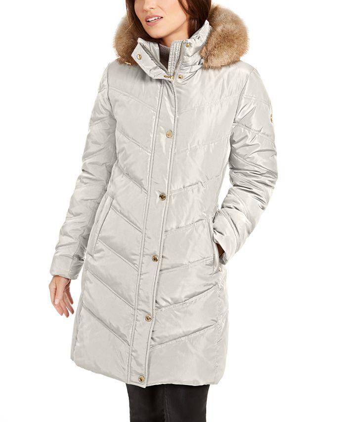 Michael Kors - Chevron Faux-Fur Trim Hooded Down Puffer Coat