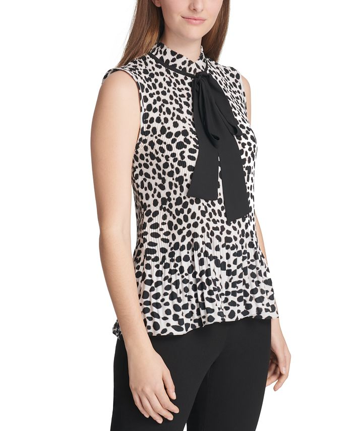 DKNY - Pleated Animal-Print Tie-Neck Top