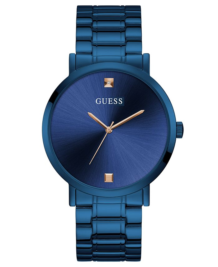 GUESS - Men's Diamond-Accent Blue Stainless Steel Bracelet Watch 44mm
