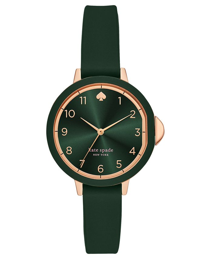 kate spade new york - Women's Park Row Green Silicone Strap Watch 34mm