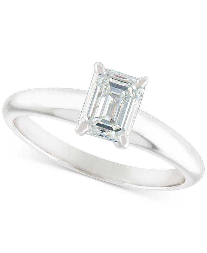 Macy's - Certified Diamond Emerald-Cut Solitaire Engagement Ring (1 ct. t.w.) in 14k White Gold
