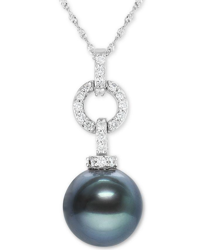 "Macy's - Black Tahitian Pearl (10mm) & Diamond (1/4 ct. t.w.) 18"" Pendant Necklace in 14k White Gold"
