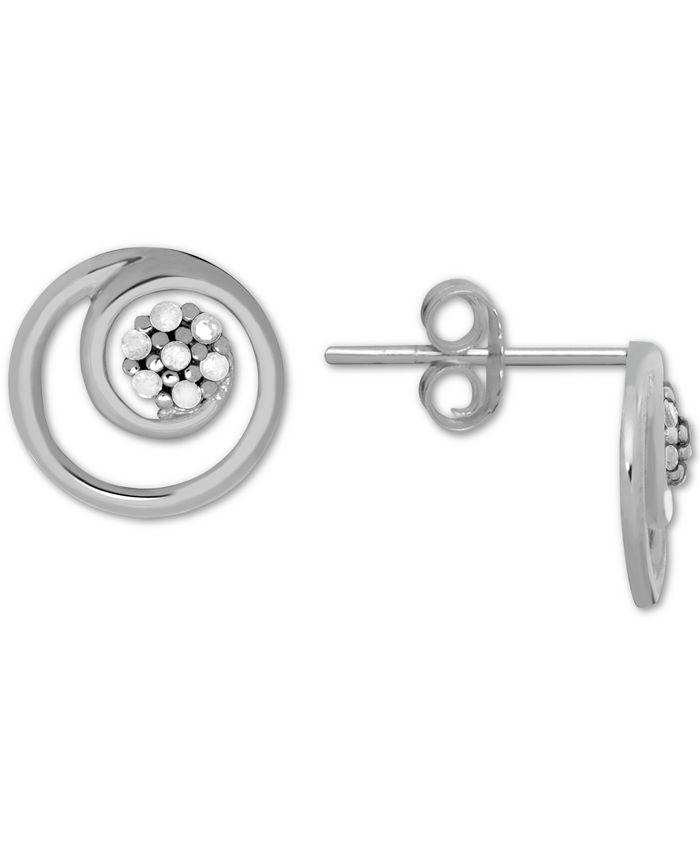 Macy's - Diamond (1/10 ct. t.w.) Swirl Illusion Stud Button Earrings in Sterling Silver