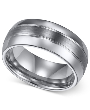 Triton Men's Ring, 8mm Classic Tungsten 3-Row Wedding Band