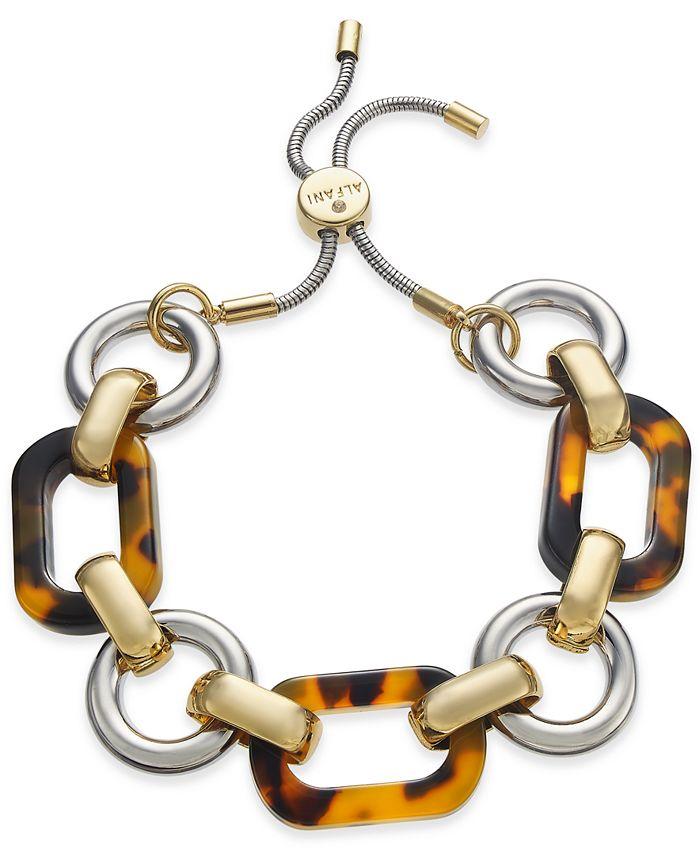 Alfani - Two-Tone & Tortoise-Look Link Slider Bracelet