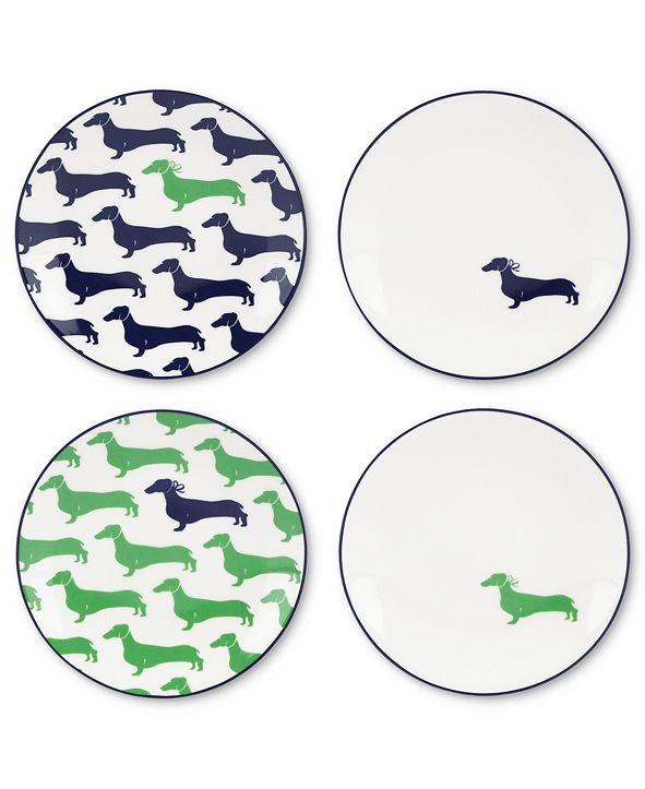 kate spade new york Dinnerware, Set of 4 Wickford Dachshund Tidbit Plates