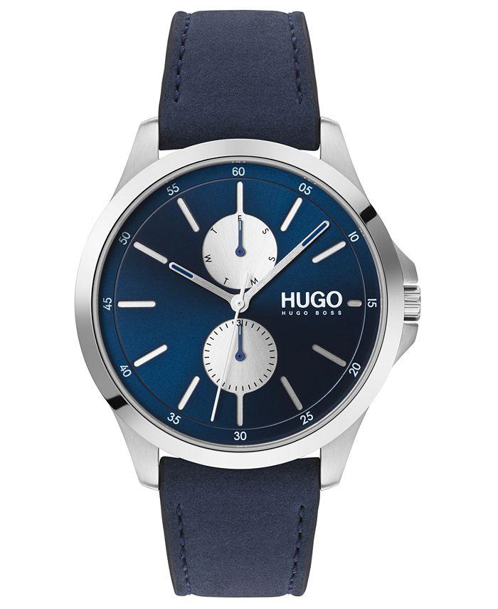 HUGO - Men's #Jump Blue Leather Strap Watch 40mm