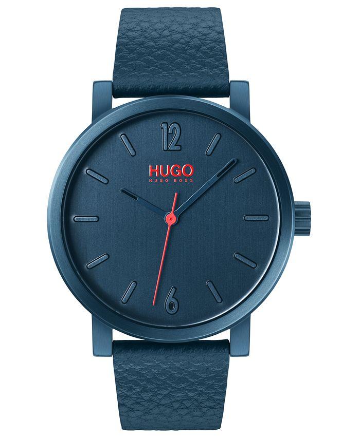HUGO - Men's #Rase Blue Leather Strap Watch 42mm