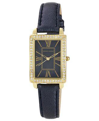 Anne klein watch women 39 s navy shimmer leather strap 32x24mm ak 1050nmnv watches jewelry for Anne klein leather strap