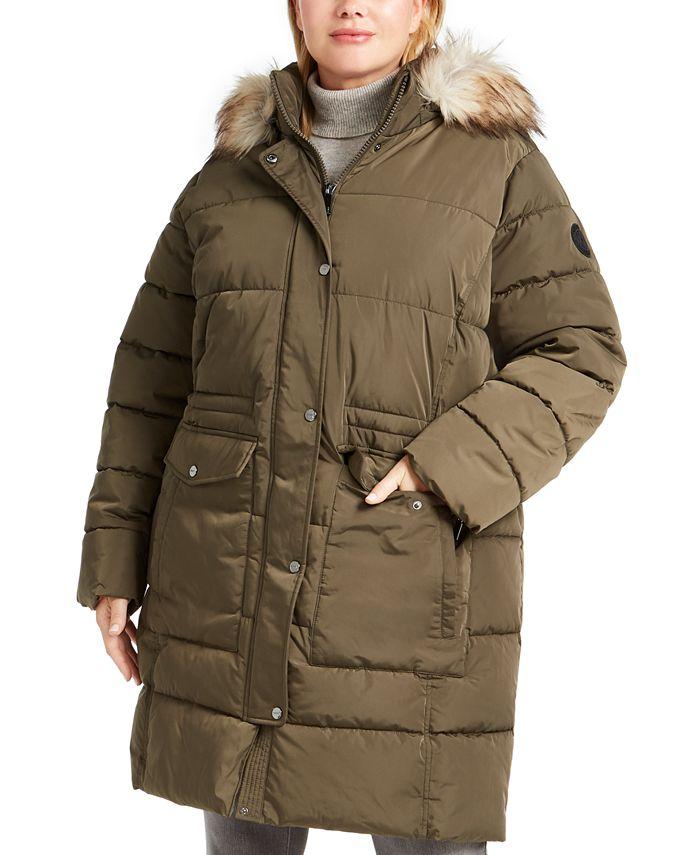 DKNY - Plus Size Faux-Fur Trim Hooded Anorak Coat