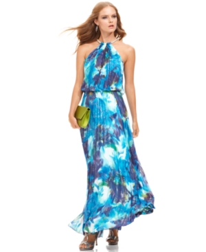 Buy macys & suits - Xscape Dress, Sleeveless Floral-Print Pleated Halter Gown
