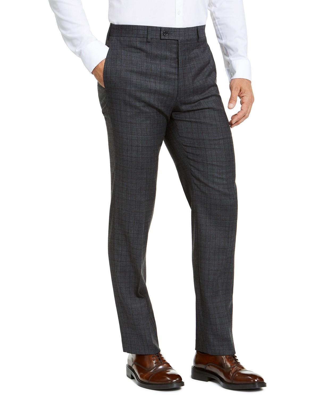 Lauren Ralph Men's Classic-Fit Stretch Check Flannel Dress Pants