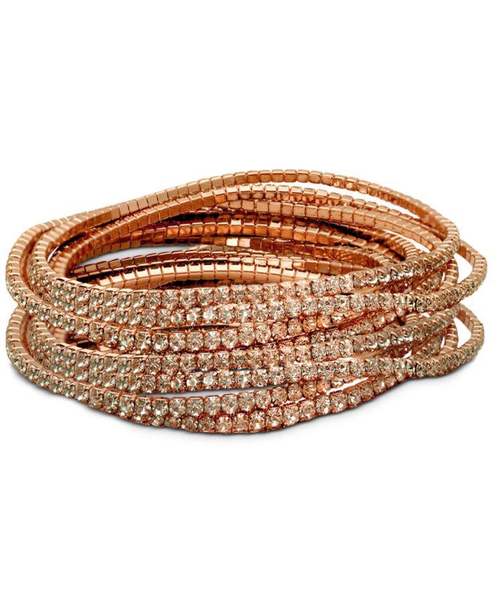 GUESS 10-Pc. Set Crystal Stretch Bracelets  & Reviews - Bracelets - Jewelry & Watches - Macy's