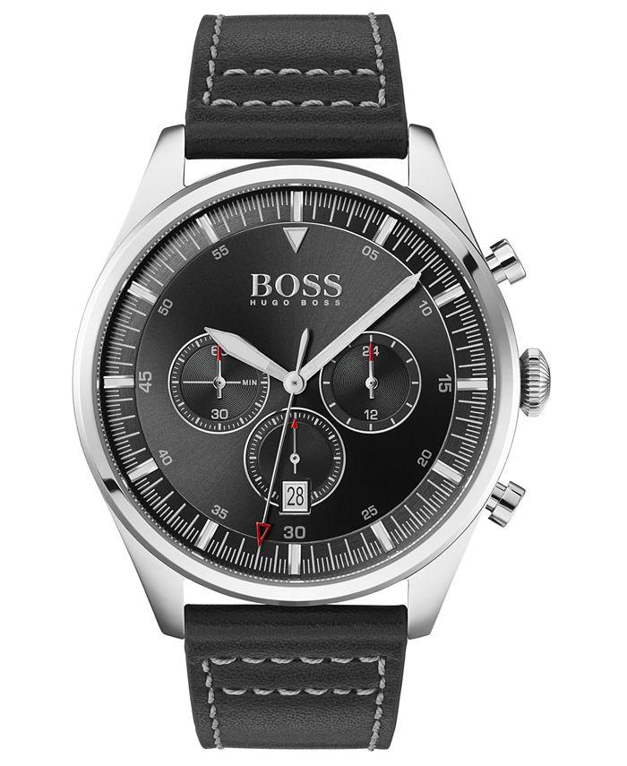 BOSS - Men's Chronograph Pioneer Black Leather Strap Watch 44mm