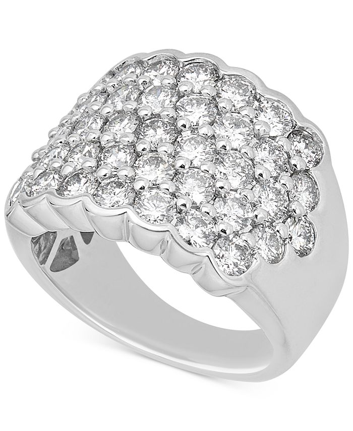 Macy's - Diamond Pavé Cluster Ring (3-1/6 ct. t.w.) in 14k White Gold