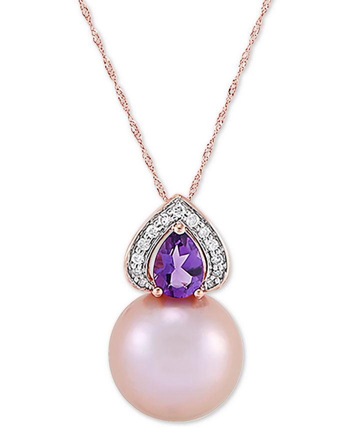 """Honora - Cultured Pink Ming Pearl (13mm), Diamond (1/10 ct. t.w.) & Amethyst (5/8 ct. t.w.) 18"""" Pendant Necklace in 14k Gold"""