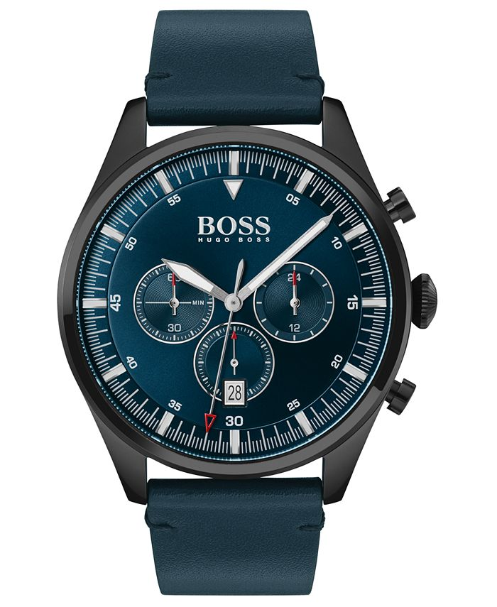 BOSS - Men's Chronograph Pioneer Blue Leather Strap Watch 44mm