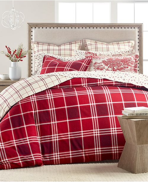 Martha Stewart Collection Ticking Plaid Flannel Bedding Collection Created For Macy S Reviews Bedding Collections Bed Bath Macy S